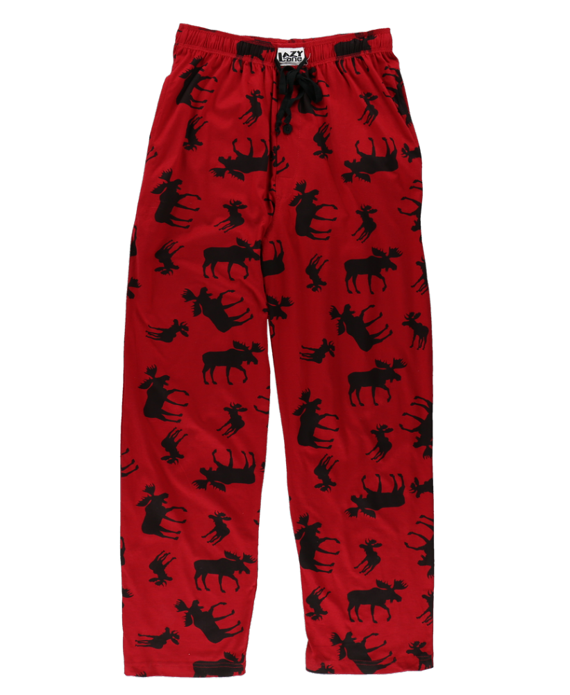 Men's Red Classic Moose PJ Trousers - Lazy One®